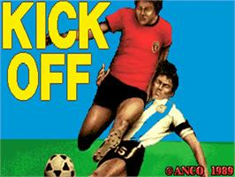 Title screen of Kick Off 2 on the Commodore Amiga.
