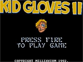 Title screen of Kid Gloves II: The Journey Back on the Commodore Amiga.