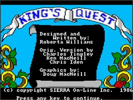 Title screen of King's Quest on the Commodore Amiga.
