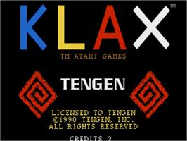 Title screen of Klax on the Commodore Amiga.