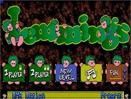 Title screen of Lemmings on the Commodore Amiga.
