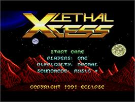 Title screen of Lethal Xcess: Wings of Death 2 on the Commodore Amiga.