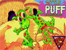 Title screen of Little Puff in Dragonland on the Commodore Amiga.