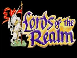 Title screen of Lords of the Realm on the Commodore Amiga.