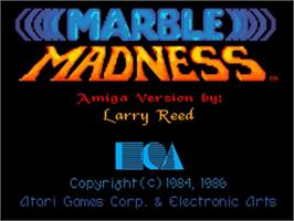 Title screen of Marble Madness on the Commodore Amiga.