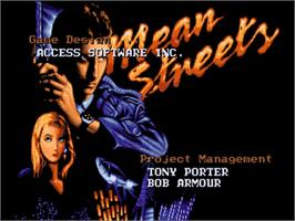 Title screen of Mean Streets on the Commodore Amiga.