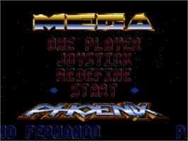 Title screen of Mega Phoenix on the Commodore Amiga.