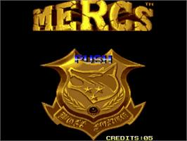 Title screen of Mercs on the Commodore Amiga.