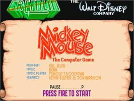 Title screen of Mickey Mouse: The Computer Game on the Commodore Amiga.