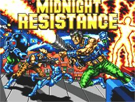 Title screen of Midnight Resistance on the Commodore Amiga.