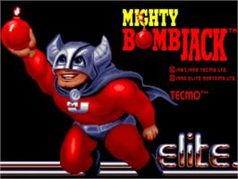 Title screen of Mighty Bombjack on the Commodore Amiga.
