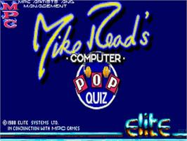 Title screen of Mike Read's Computer Pop Quiz on the Commodore Amiga.