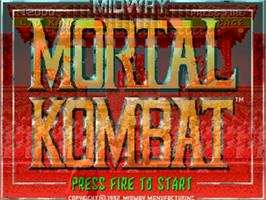 Title screen of Mortal Kombat on the Commodore Amiga.