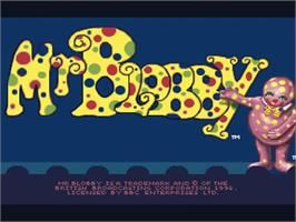 Title screen of Mr. Blobby on the Commodore Amiga.