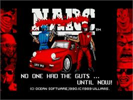 Title screen of Narc on the Commodore Amiga.
