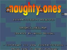 Title screen of Naughty Ones on the Commodore Amiga.