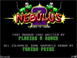 Title screen of Nebulus 2: Pogo-A-Go-Go on the Commodore Amiga.