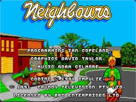 Title screen of Neighbours on the Commodore Amiga.
