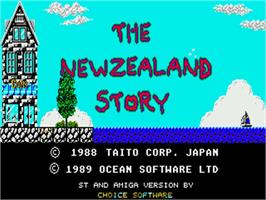 Title screen of New Zealand Story on the Commodore Amiga.