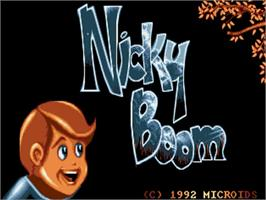 Title screen of Nicky Boom on the Commodore Amiga.