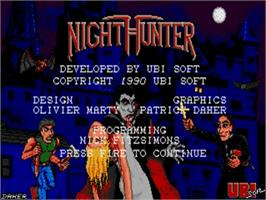 Title screen of Night Hunter on the Commodore Amiga.