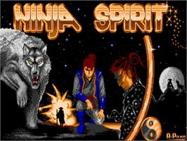 Title screen of Ninja Spirit on the Commodore Amiga.