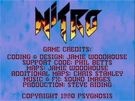 Title screen of Nitro on the Commodore Amiga.