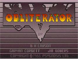 Title screen of Obliterator on the Commodore Amiga.