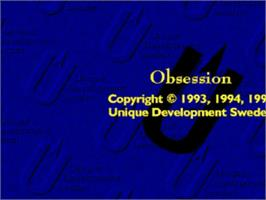 Title screen of Obsession on the Commodore Amiga.