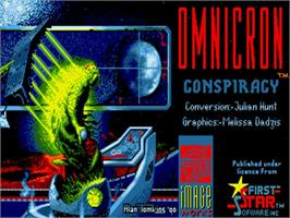 Title screen of Omnicron Conspiracy on the Commodore Amiga.