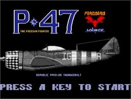 Title screen of P-47 Thunderbolt: The Freedom Fighter on the Commodore Amiga.