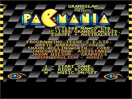 Title screen of Pac-Mania on the Commodore Amiga.