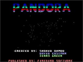 Title screen of Pandora on the Commodore Amiga.