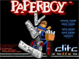 Title screen of Paperboy on the Commodore Amiga.