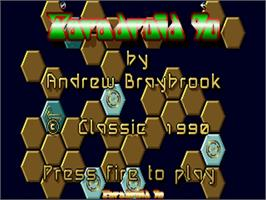 Title screen of Paradroid 90 on the Commodore Amiga.