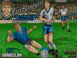 Title screen of Peter Beardsley's International Football on the Commodore Amiga.