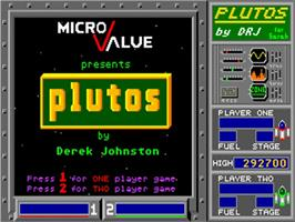Title screen of Plutos on the Commodore Amiga.