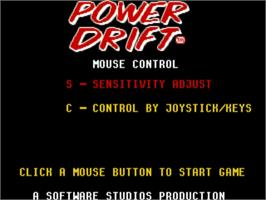 Title screen of Power Drift on the Commodore Amiga.