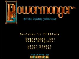 Title screen of Powermonger on the Commodore Amiga.