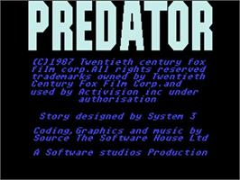 Title screen of Predator on the Commodore Amiga.