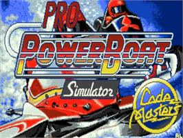 Title screen of Pro Powerboat Simulator on the Commodore Amiga.