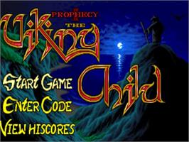 Title screen of Prophecy on the Commodore Amiga.