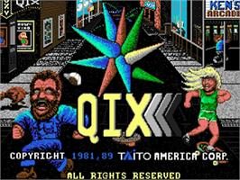Title screen of Qix on the Commodore Amiga.