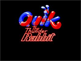 Title screen of Quik the Thunder Rabbit on the Commodore Amiga.