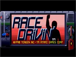Title screen of Race Drivin' on the Commodore Amiga.