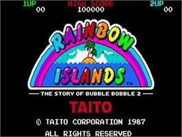 Title screen of Rainbow Islands on the Commodore Amiga.