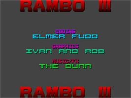 Title screen of Rambo III on the Commodore Amiga.