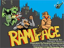 Title screen of Rampage on the Commodore Amiga.