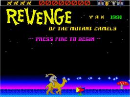 Title screen of Revenge of the Mutant Camels on the Commodore Amiga.