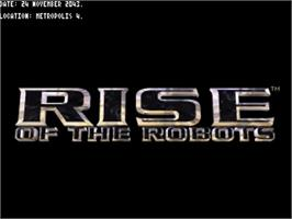 Title screen of Rise of the Robots on the Commodore Amiga.